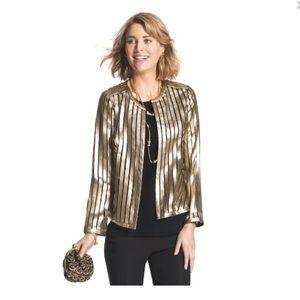 Faux leather jacket gold stripes
